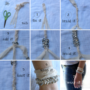 FABRIC AND METAL BRACELET / A TUTORIAL