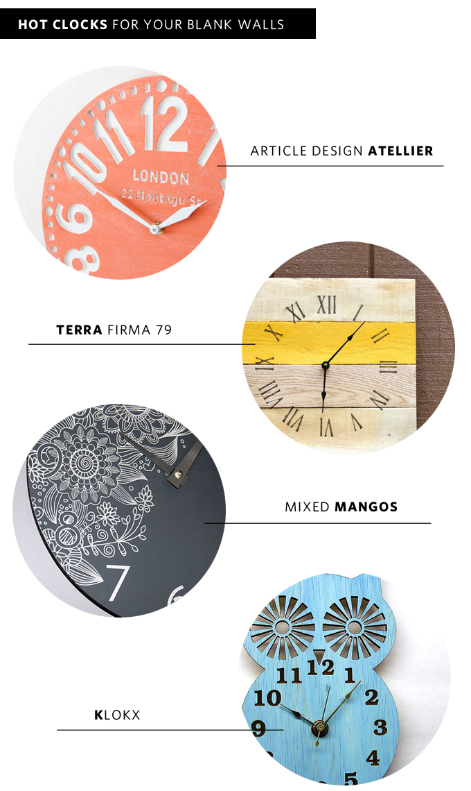 HOT CLOCKS FOR YOUR BLANK WALLS | KELLY WESTOVER